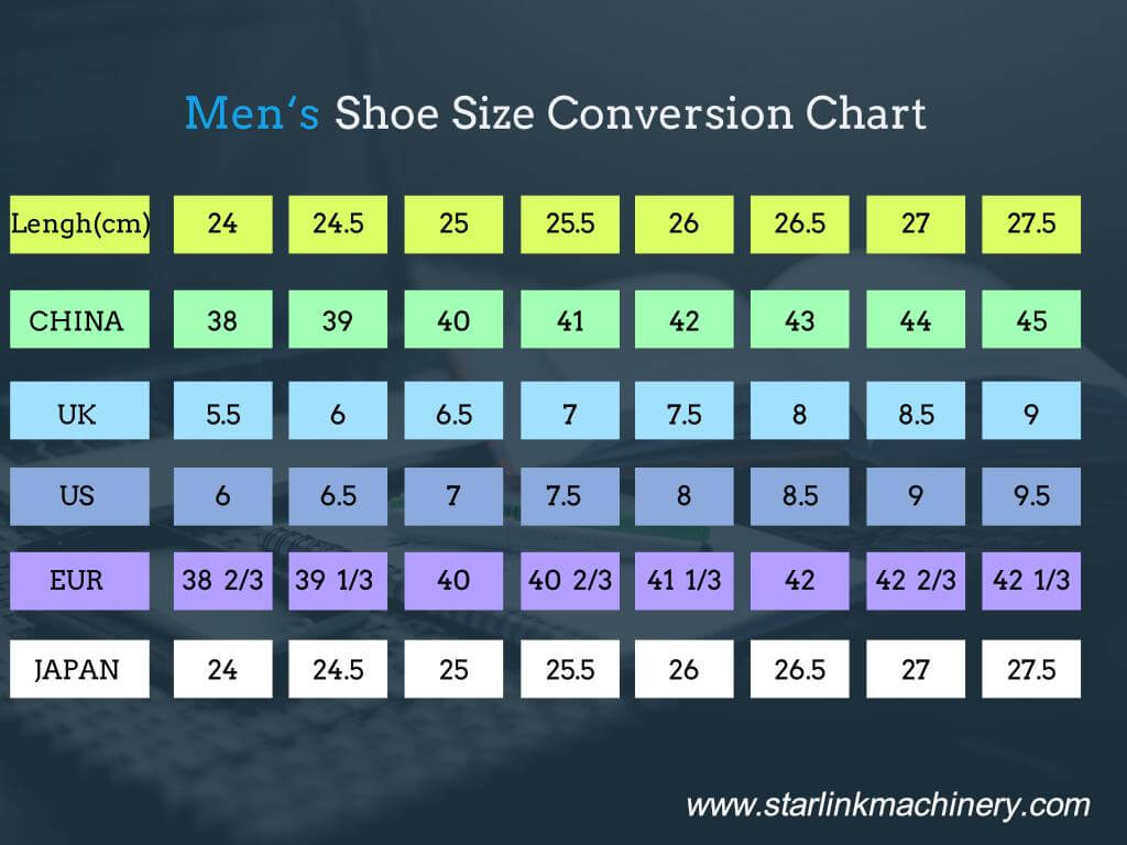 Shoe size conversion chart starlink shoe making machine universal mens shoe size chart geenschuldenfo Image collections
